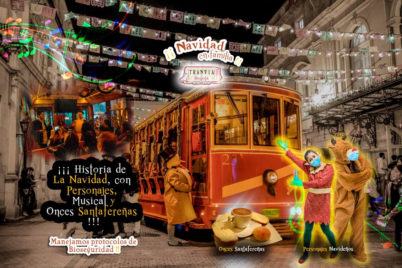 Navidad en familia tranvía de Bogotá